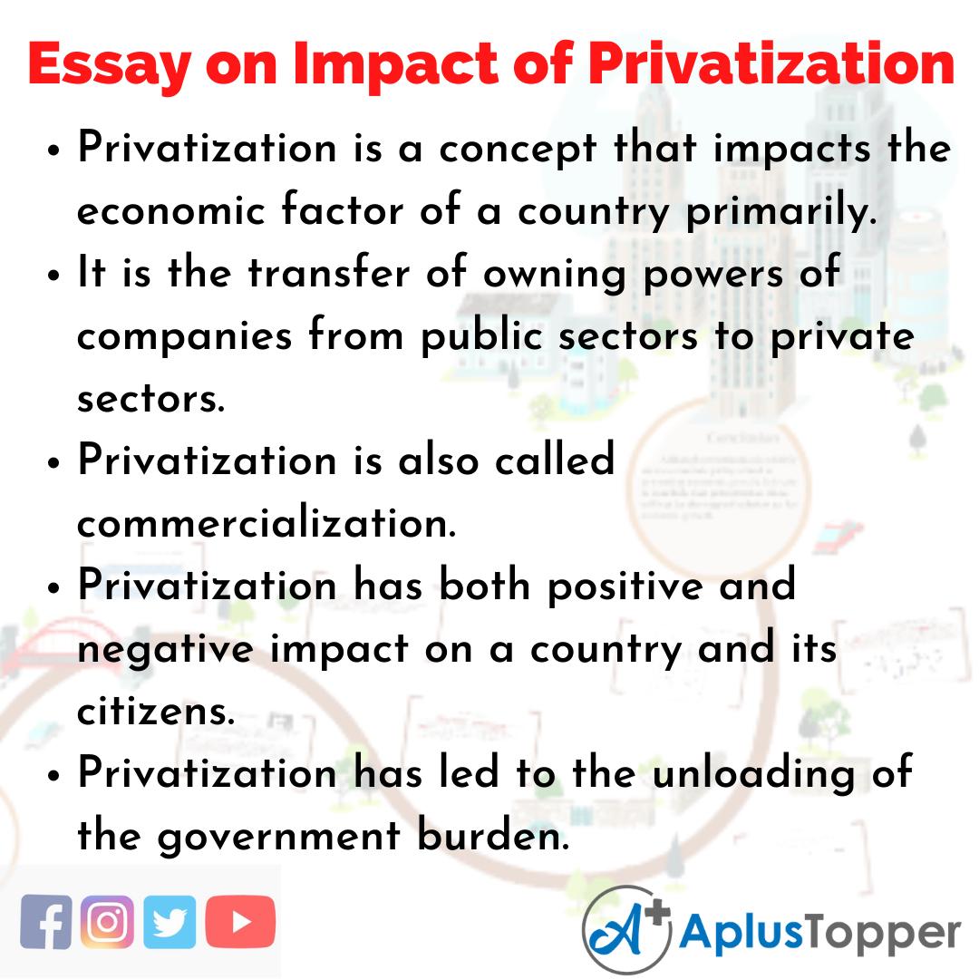 Essay on Impact of Privatization