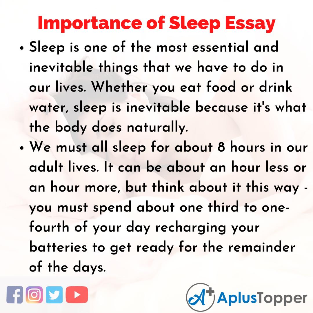 Essay on Importance of Sleep