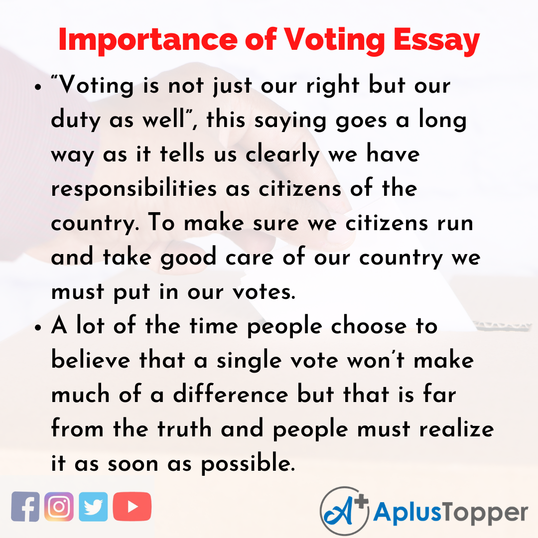Essay on Importance of Voting