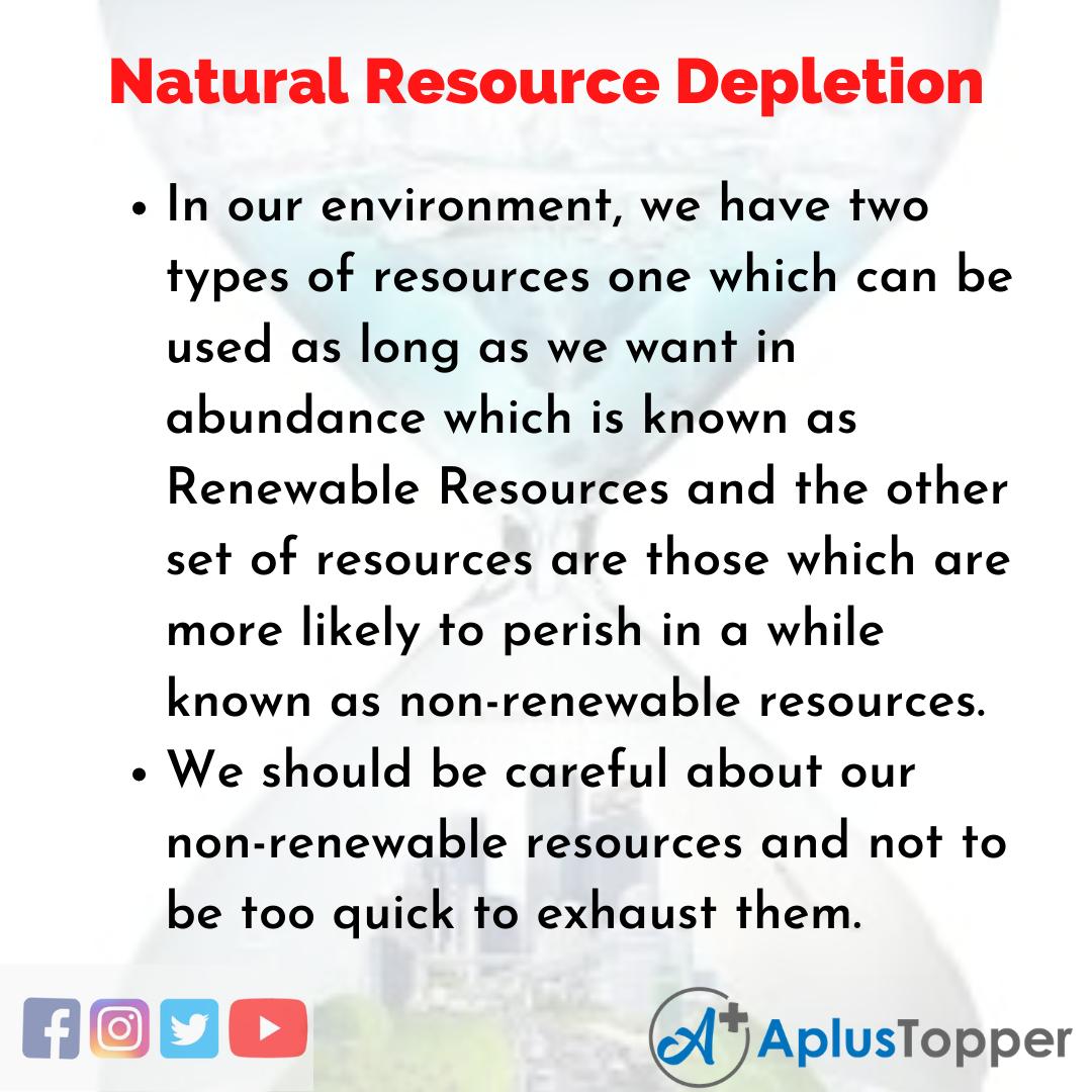 Essay on Natural Resource Depletion