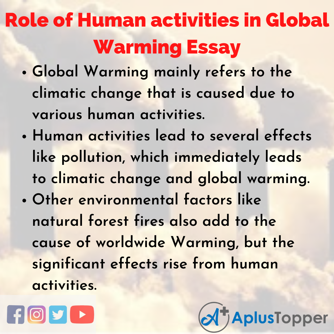 Essay on Role of Human activities in Global Warming