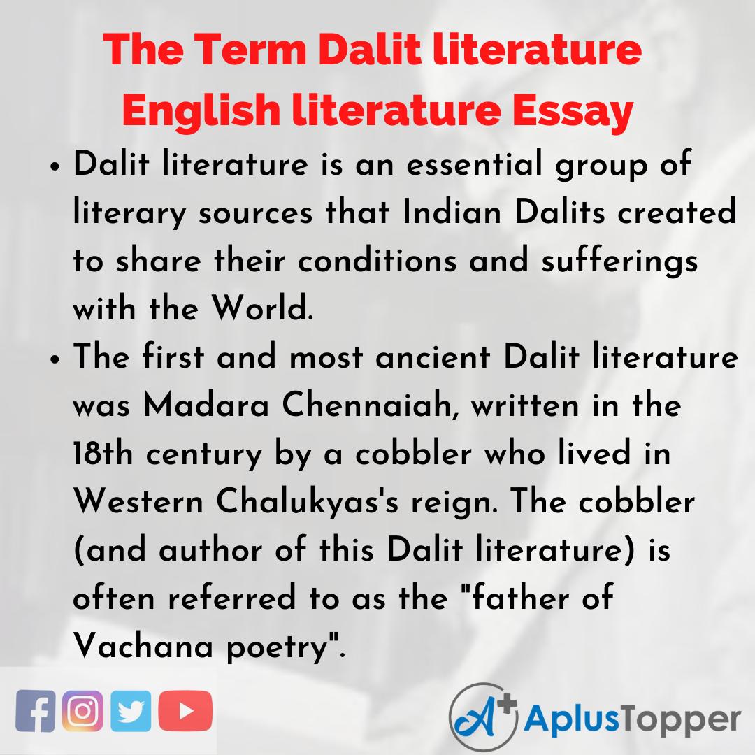 Essay on the Term Dalit literature English literature