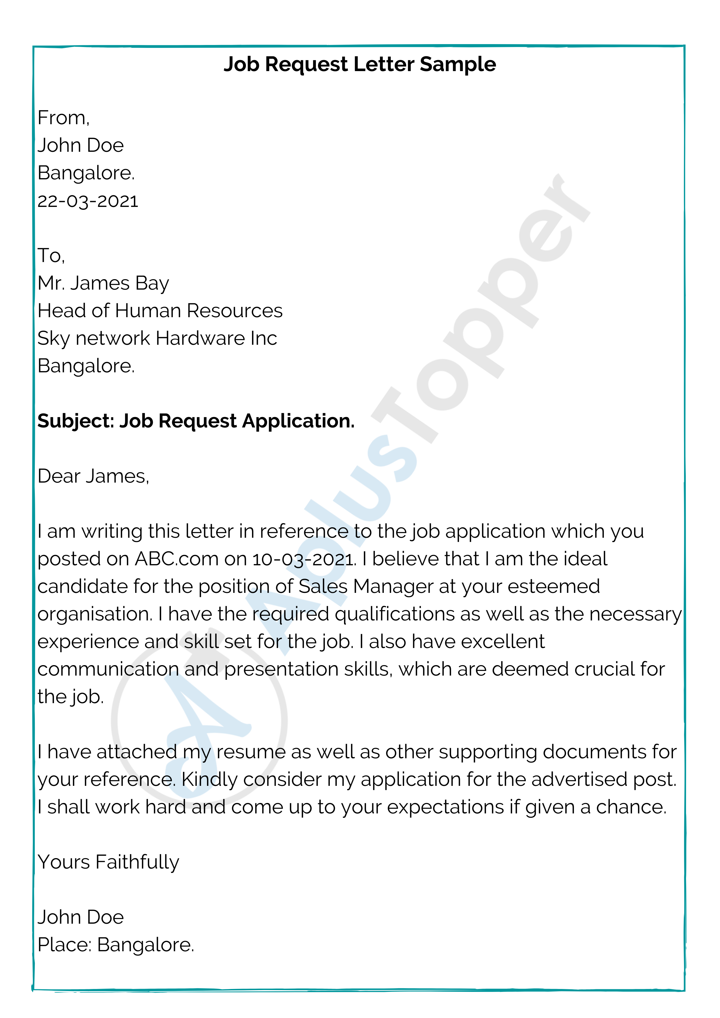 Job Request Letter How To Write