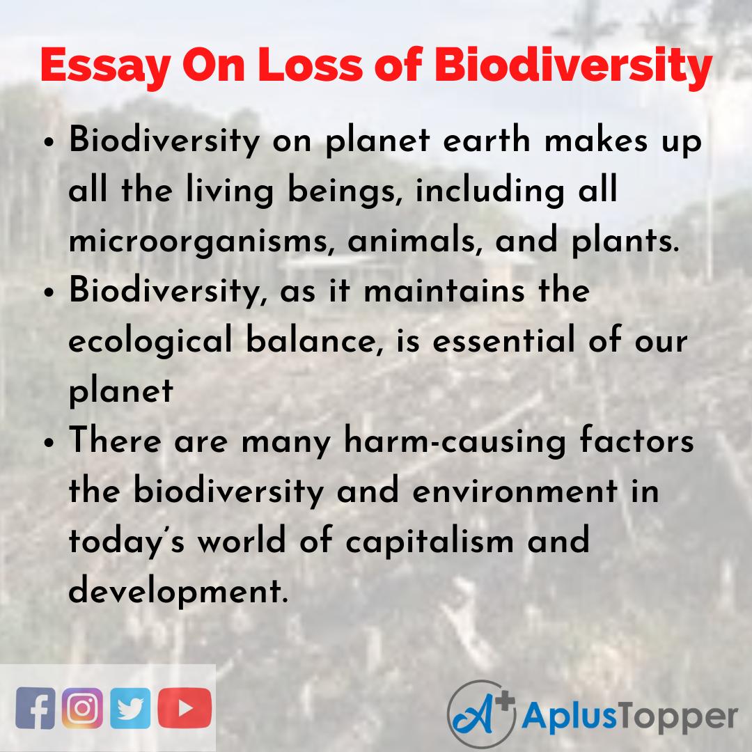 Long Essay On Loss of Biodiversity
