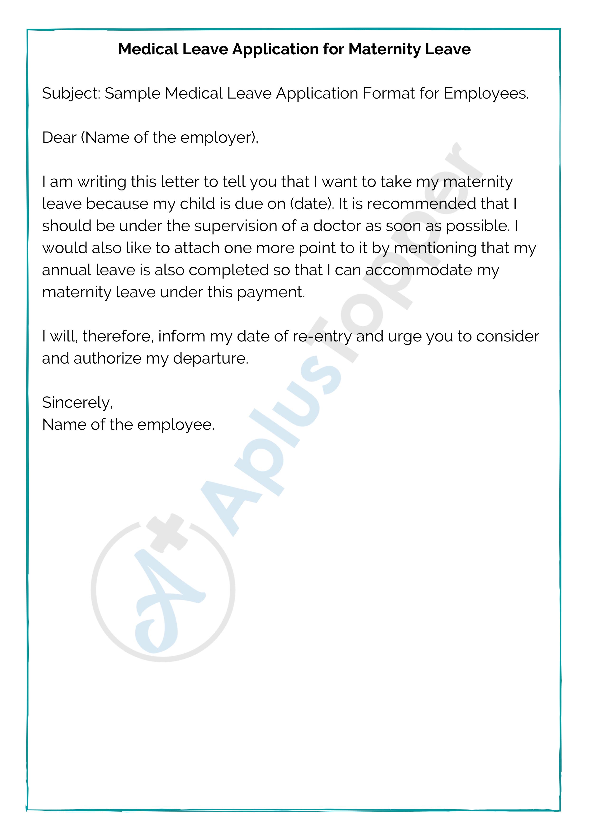 Medical Leave Application for Maternity Leave
