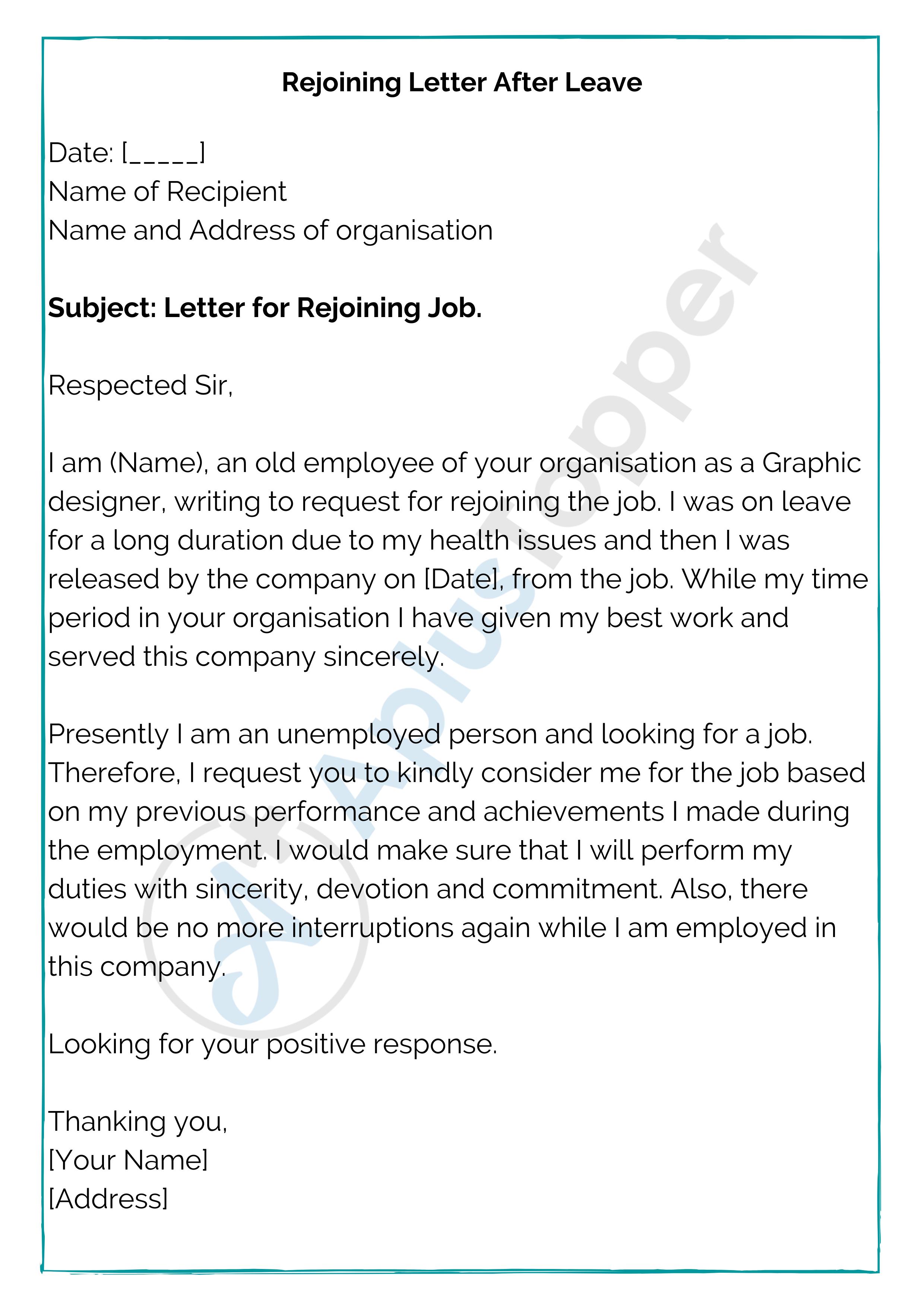 Rejoining Letter After Leave