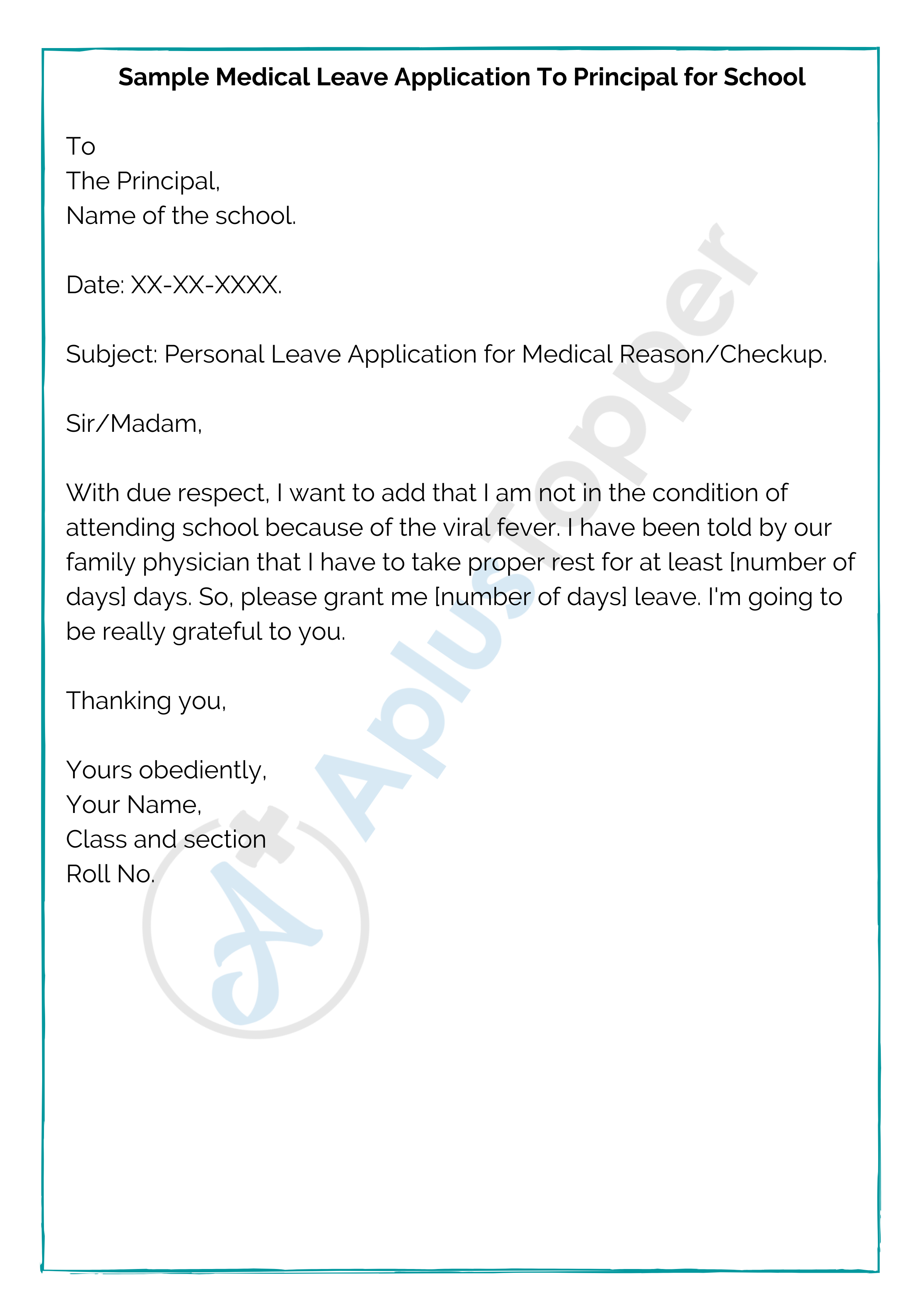 Sample Medical Leave Application To Principal for School