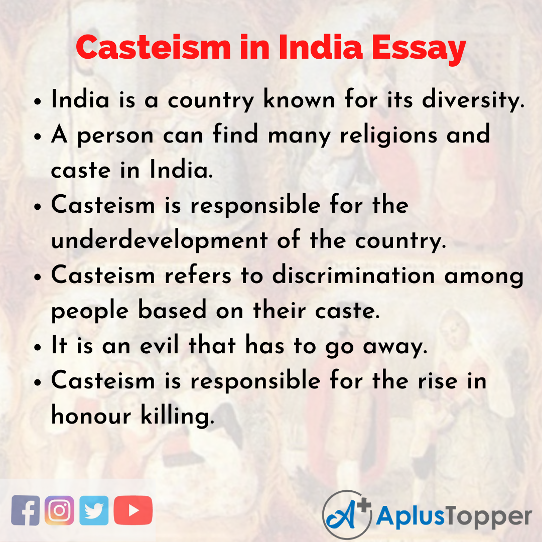 10 Lines on Casteism in India Essay
