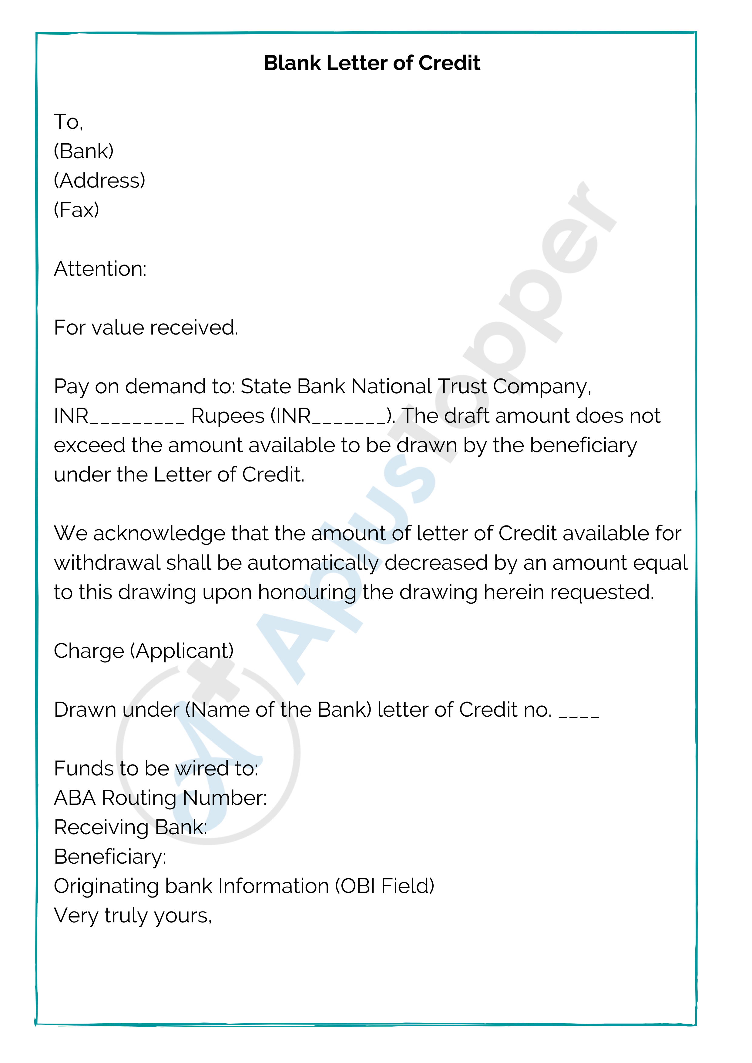 10 Sample Letter Of Credit Format Template And Examples Of Letter Of Credit A Plus Topper