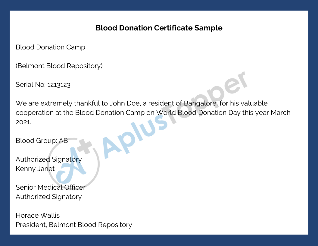 Blood Donation Certificate Sample