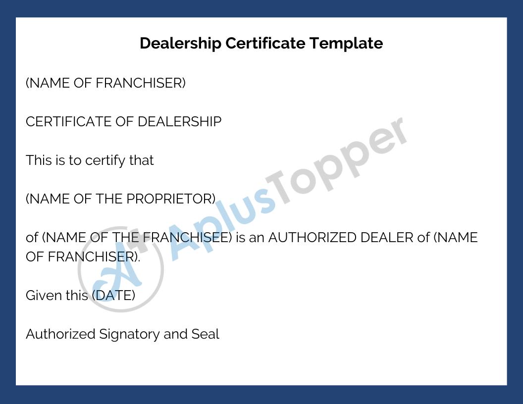 Dealership Certificate Template