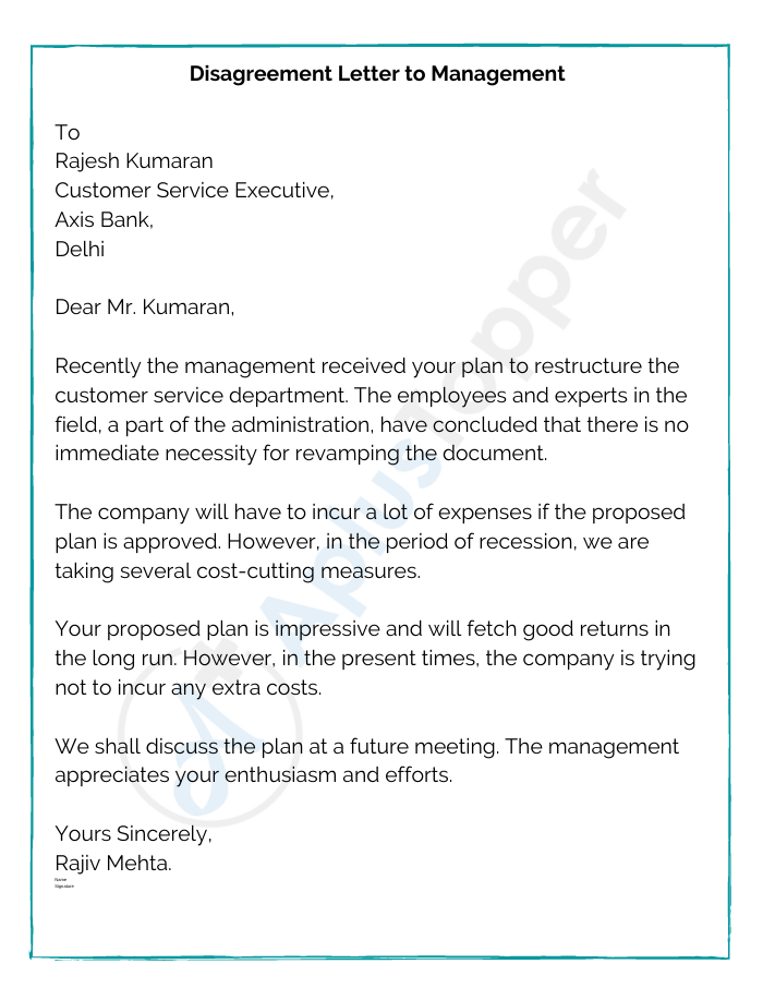 Disagreement Letter to Management