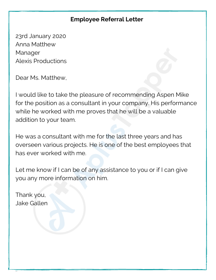 Employee Referral Letter