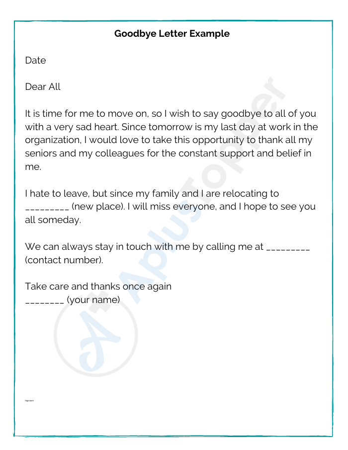 Goodbye Letter Example