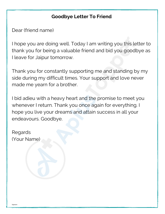 Goodbye Letter To Friend