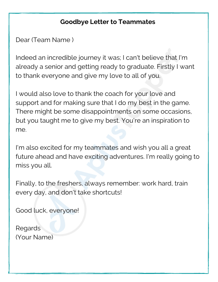 Goodbye Letter to Teammates