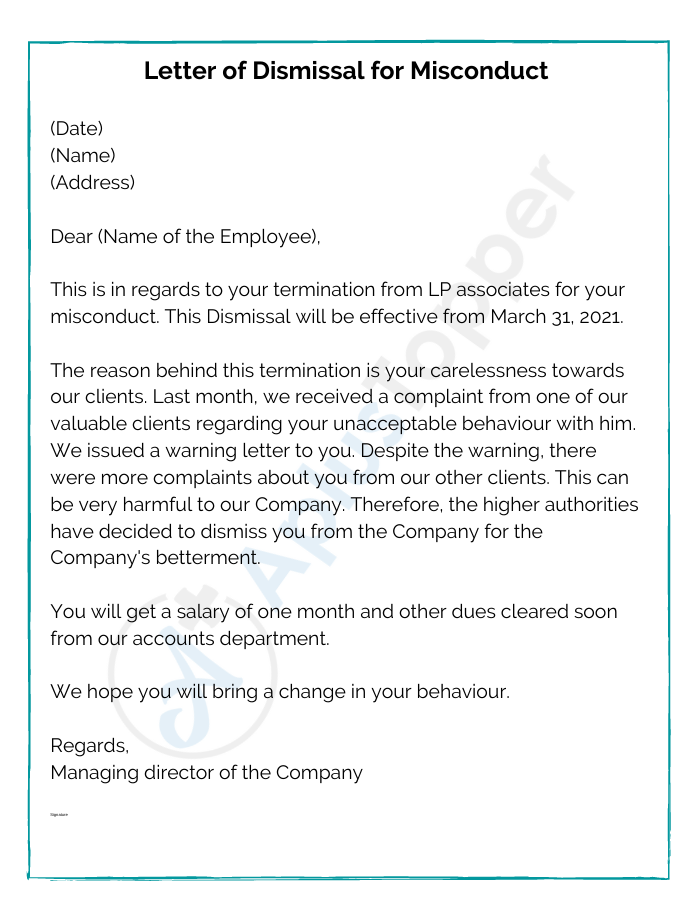 Letter of Dismissal for Misconduct