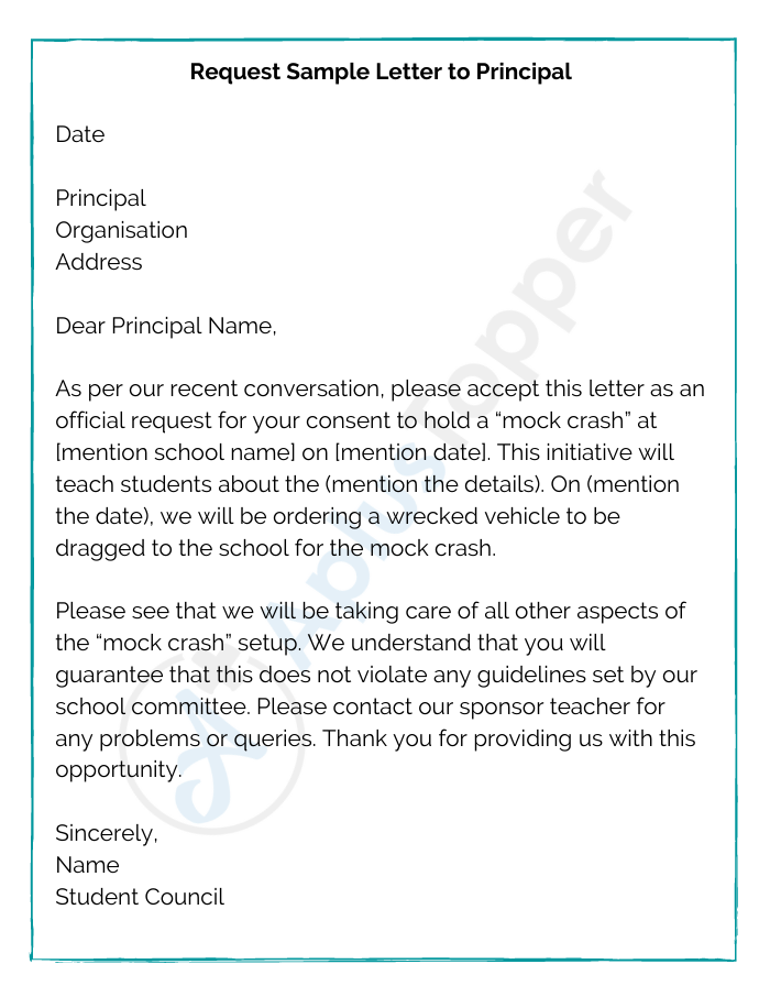 Request Sample Letter to principal