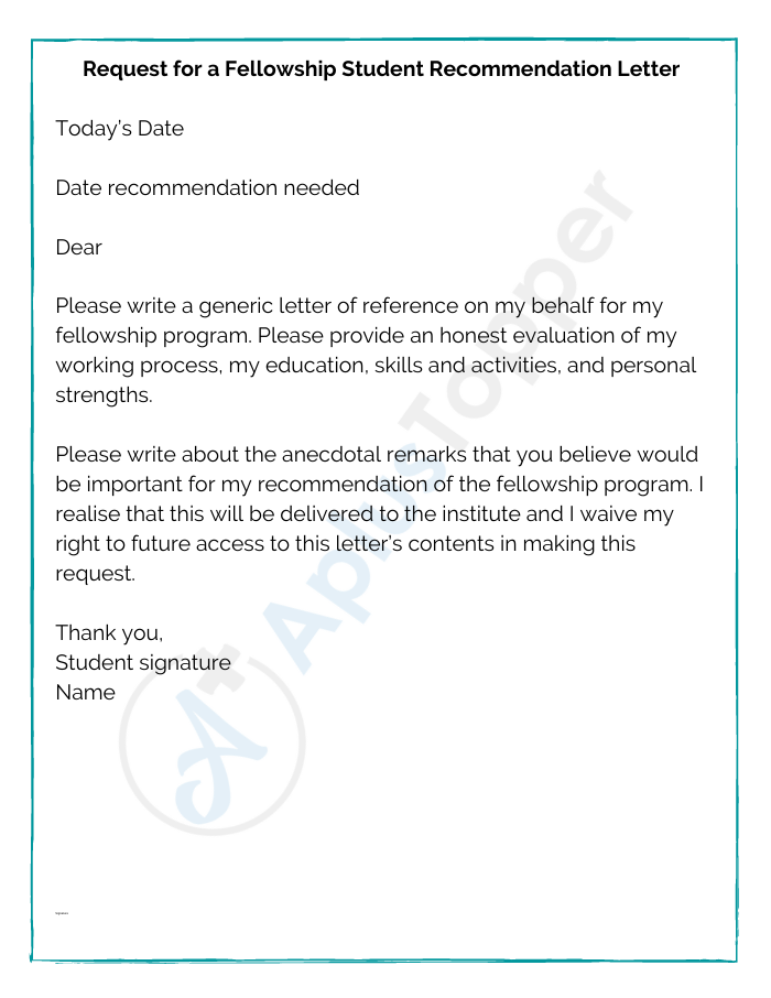 Request for a Fellowship Student Recommendation Letter