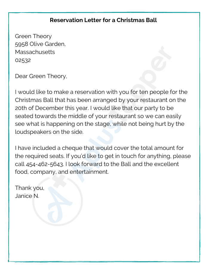 Reservation Letter for a Christmas Ball