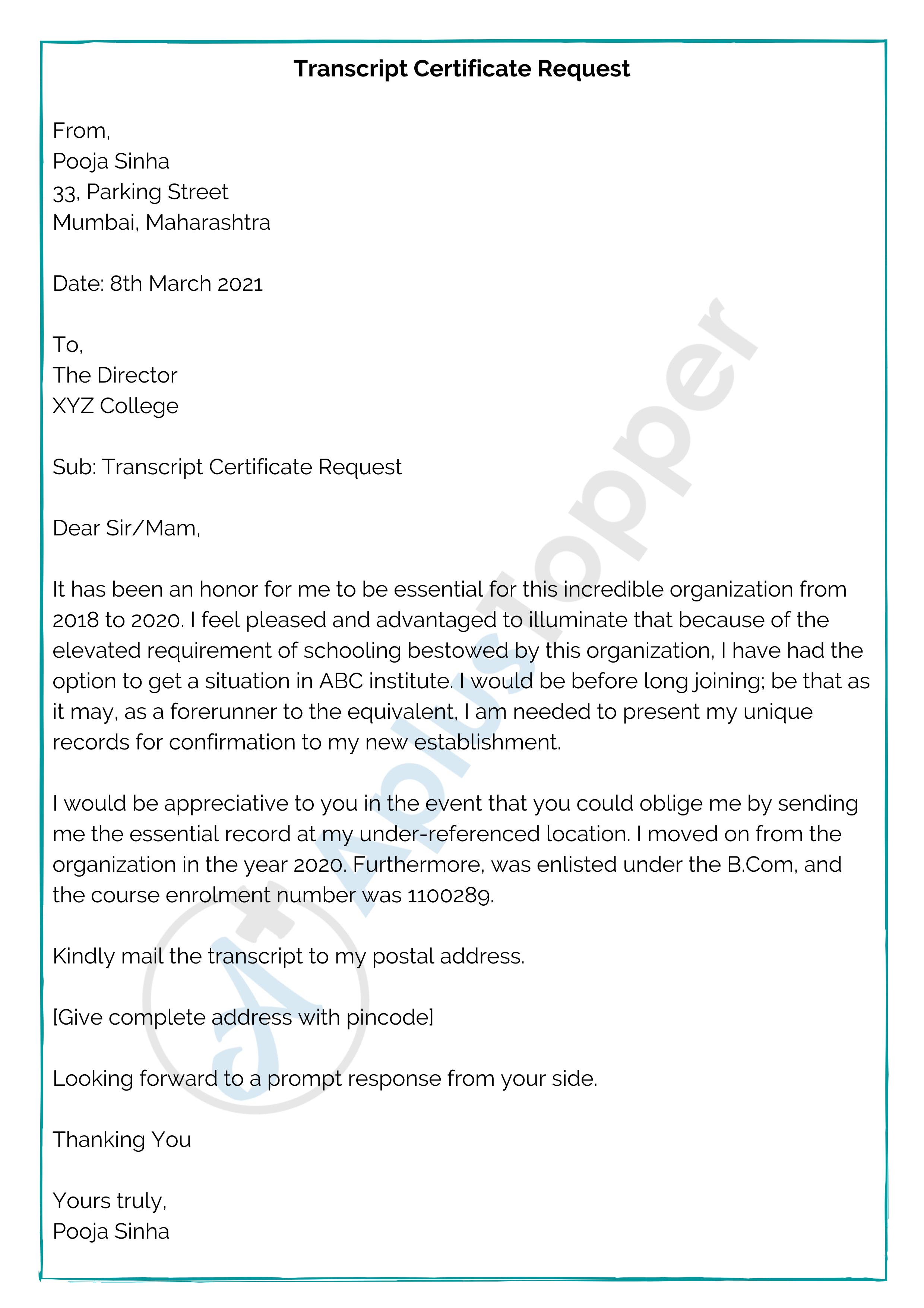 Transcript Certificate Request