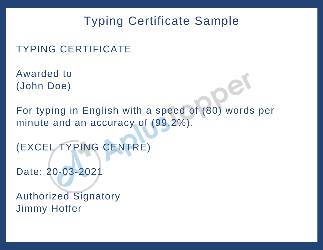 Typing Certificate Sample