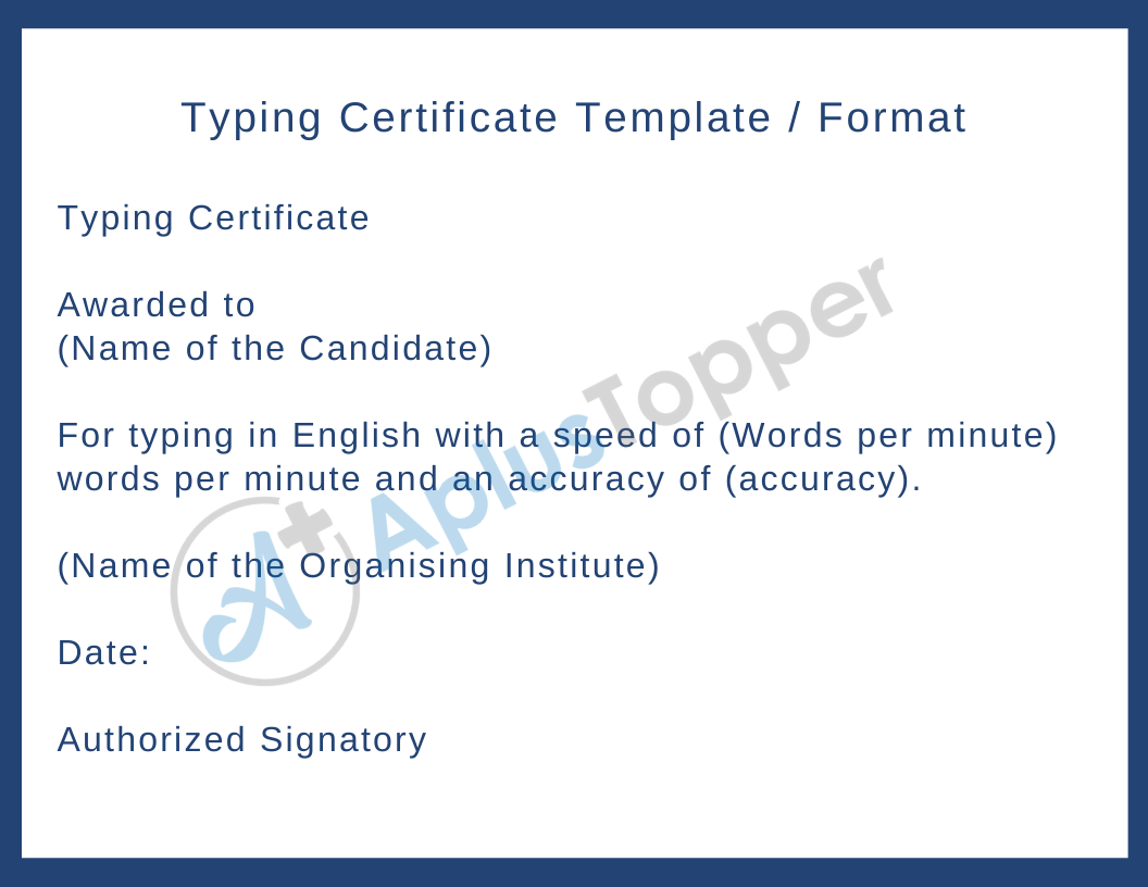 Typing Certificate Template