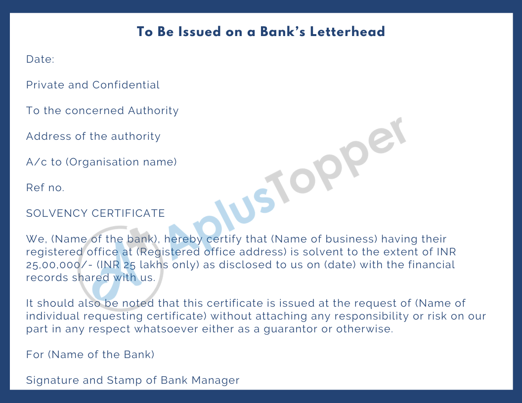 solvency certificate from bank