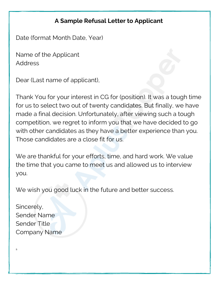 A Sample Refusal Letter to Applicant