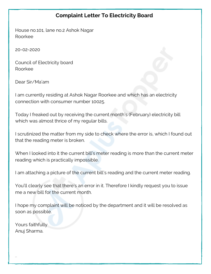 Complaint Letter To Electricity Board