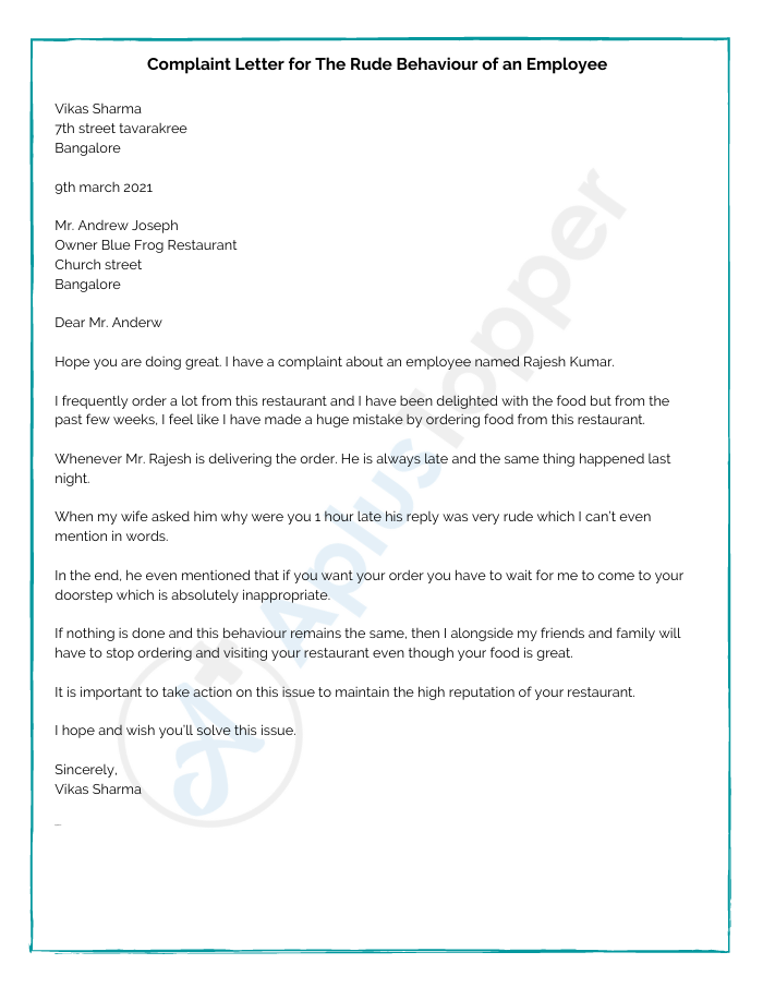 Complaint Letter for The Rude Behaviour of an Employee