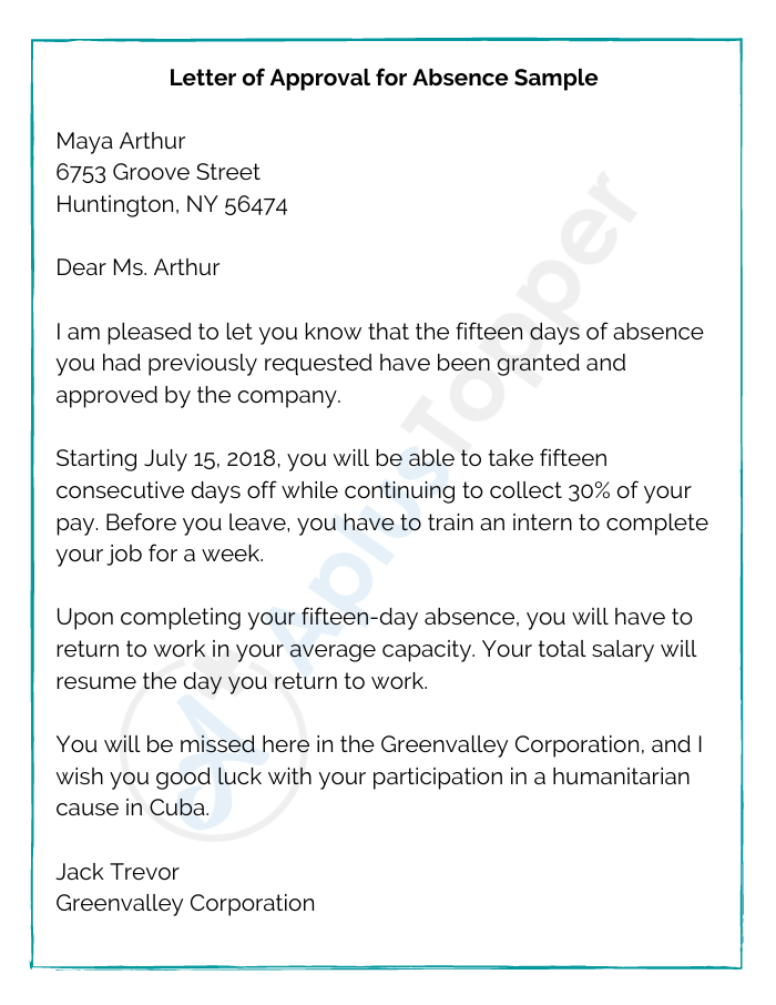 Letter of Approval for Absence Sample