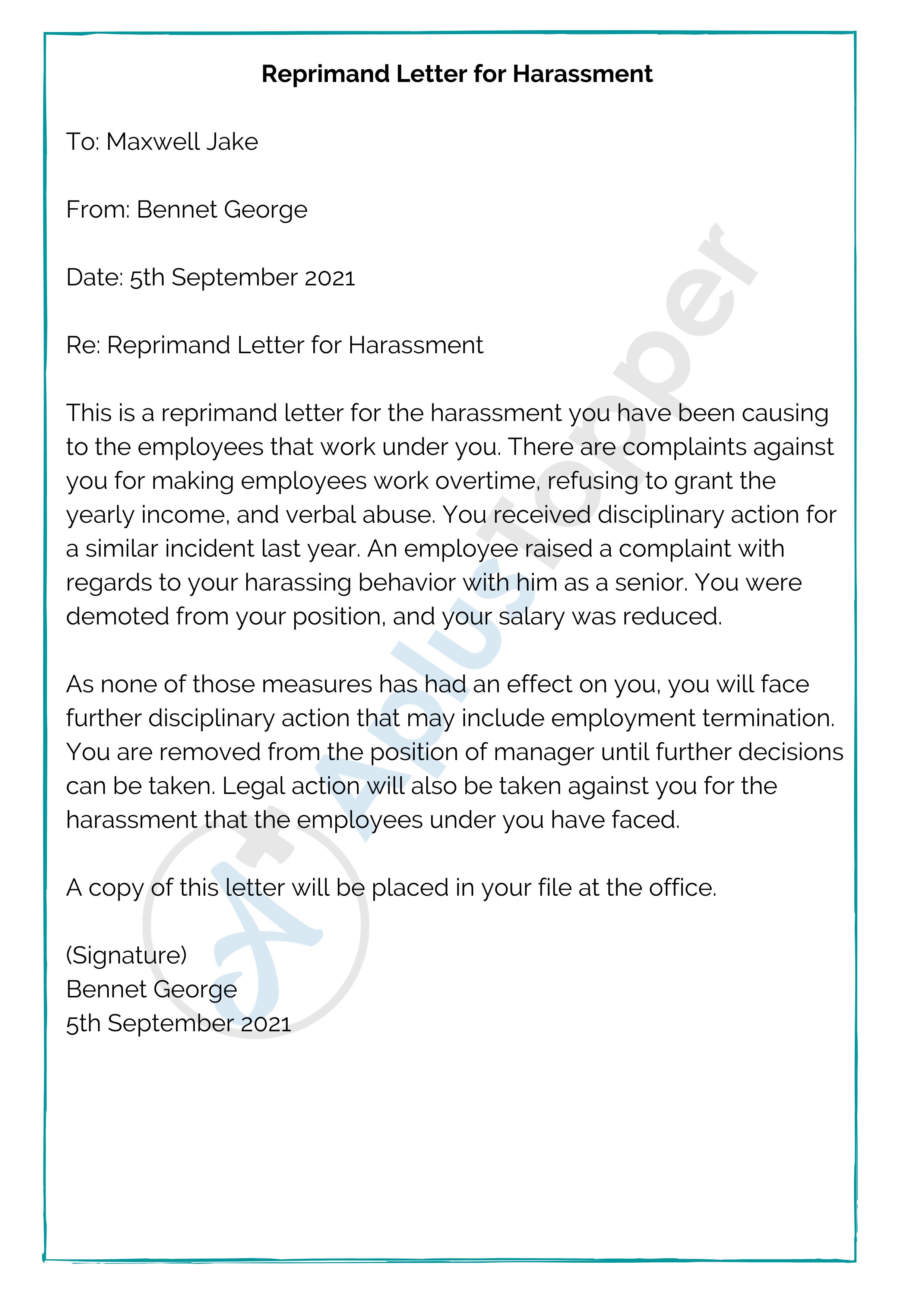 Reprimand Letter for Harassment