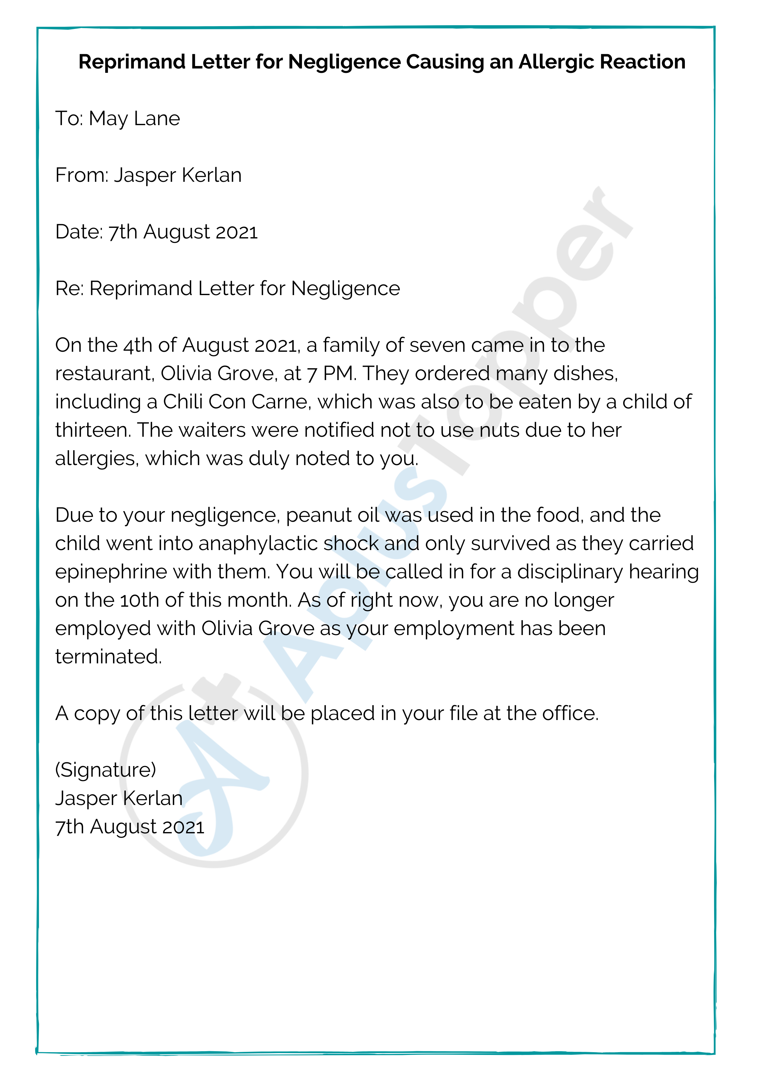 Reprimand Letter for Negligence Causing an Allergic Reaction