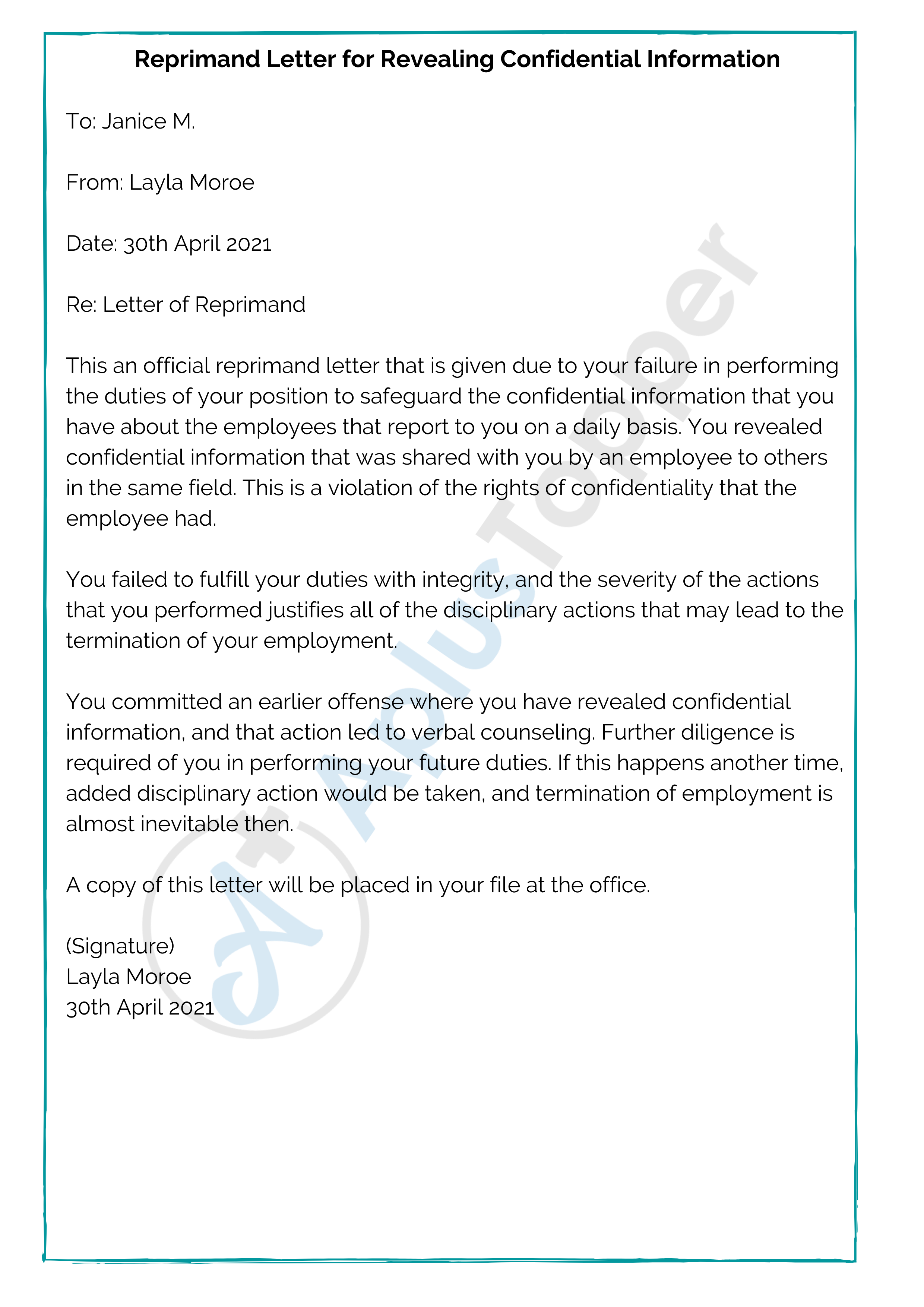 Reprimand Letter for Revealing Confidential Information