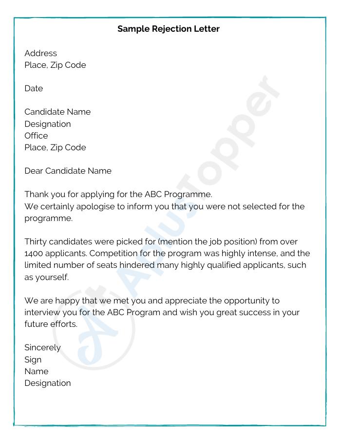 Polite rejection letter to vendor