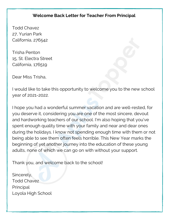 Welcome Back Letter for Teacher From Principal