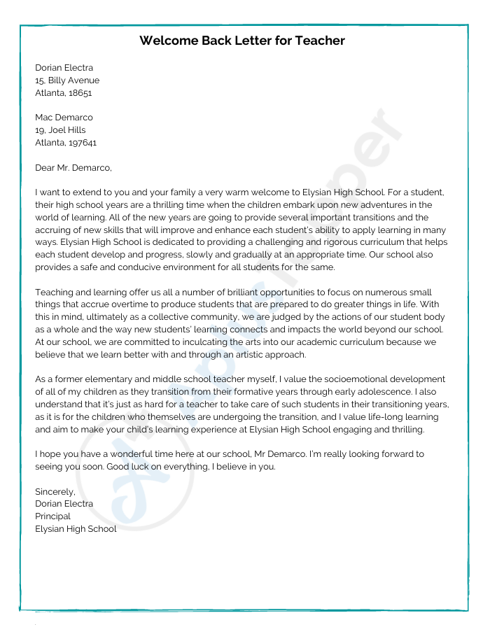 Write Teacher Welcome Back Letters