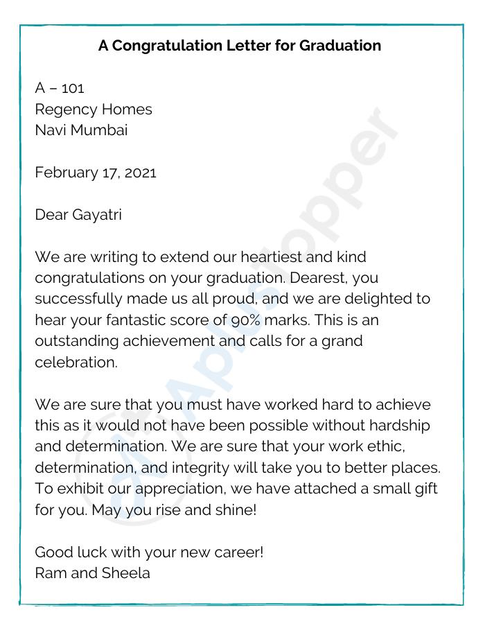A Congratulation Letter for Graduation