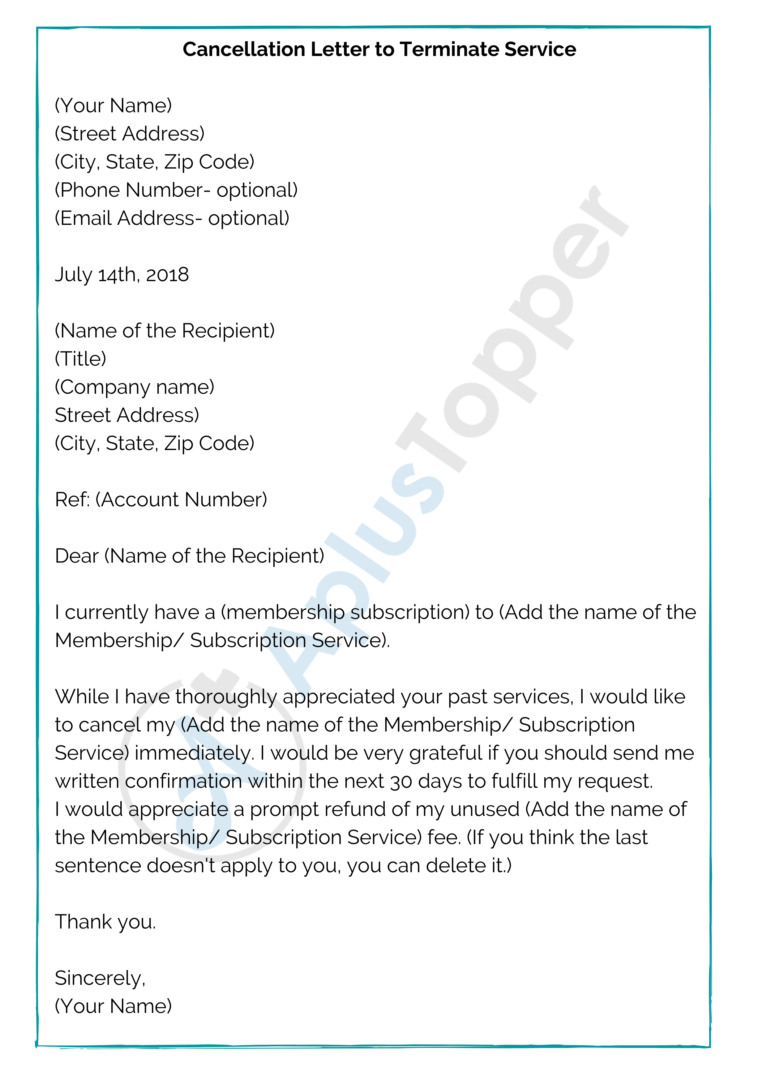 Cancellation Letter to Terminate Service