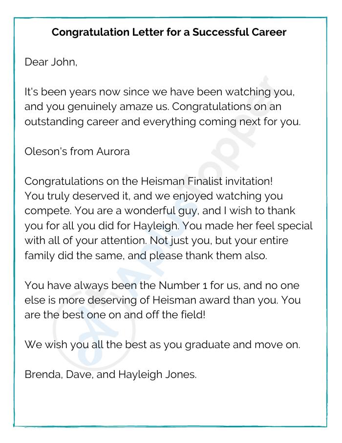Congratulation Letter for a Successful Career