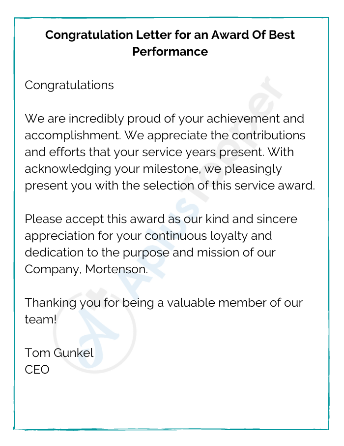 Congratulation Letter for an Award Of Best Performance