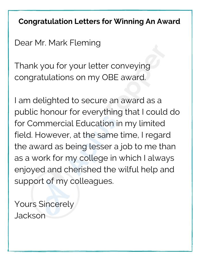 Congratulation Letters for Winning An Award