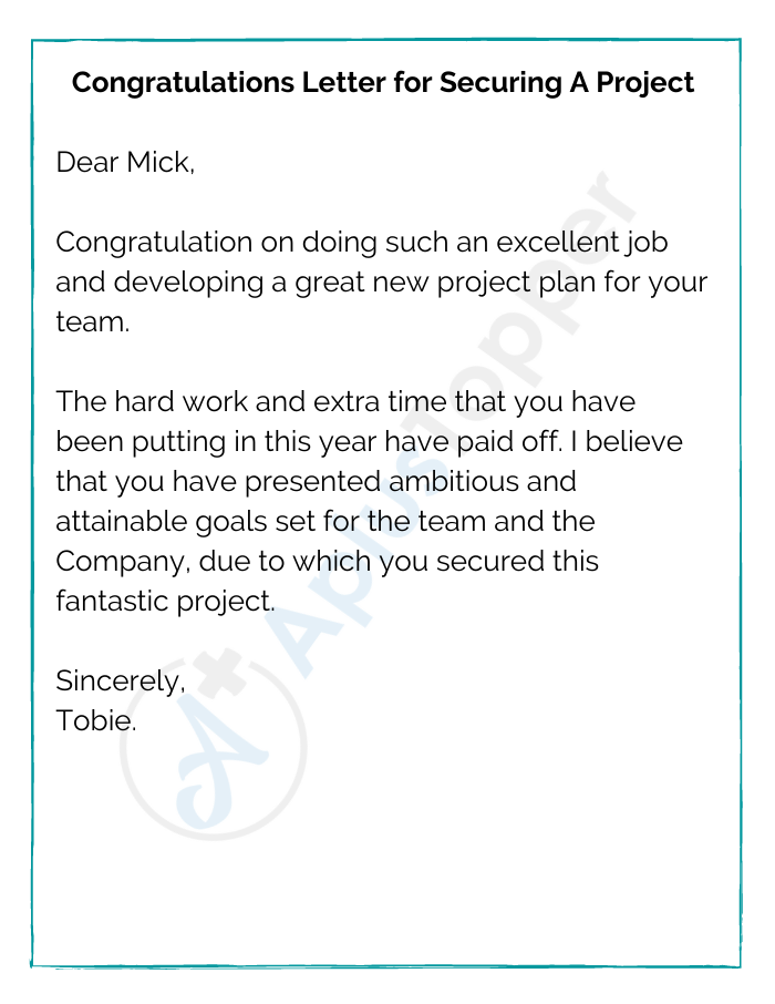Congratulations Letter for Securing A Project