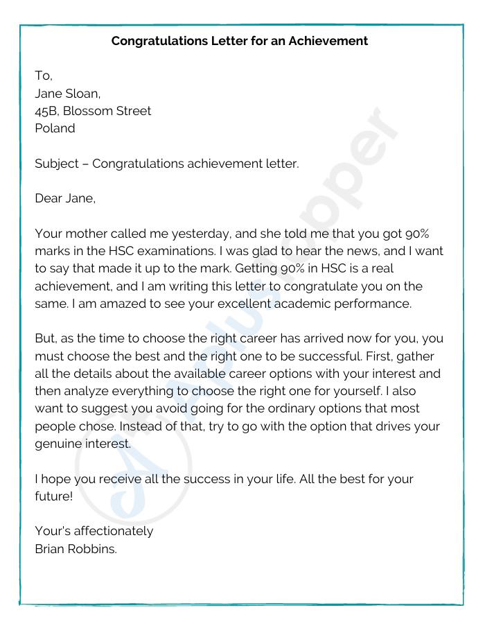 Congratulations Letter for an Achievement