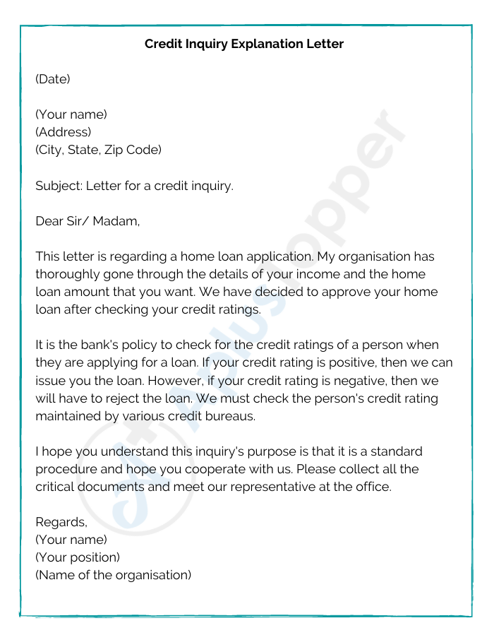 Credit Inquiry Explanation Letter