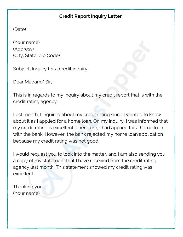 Credit Report Inquiry Letter