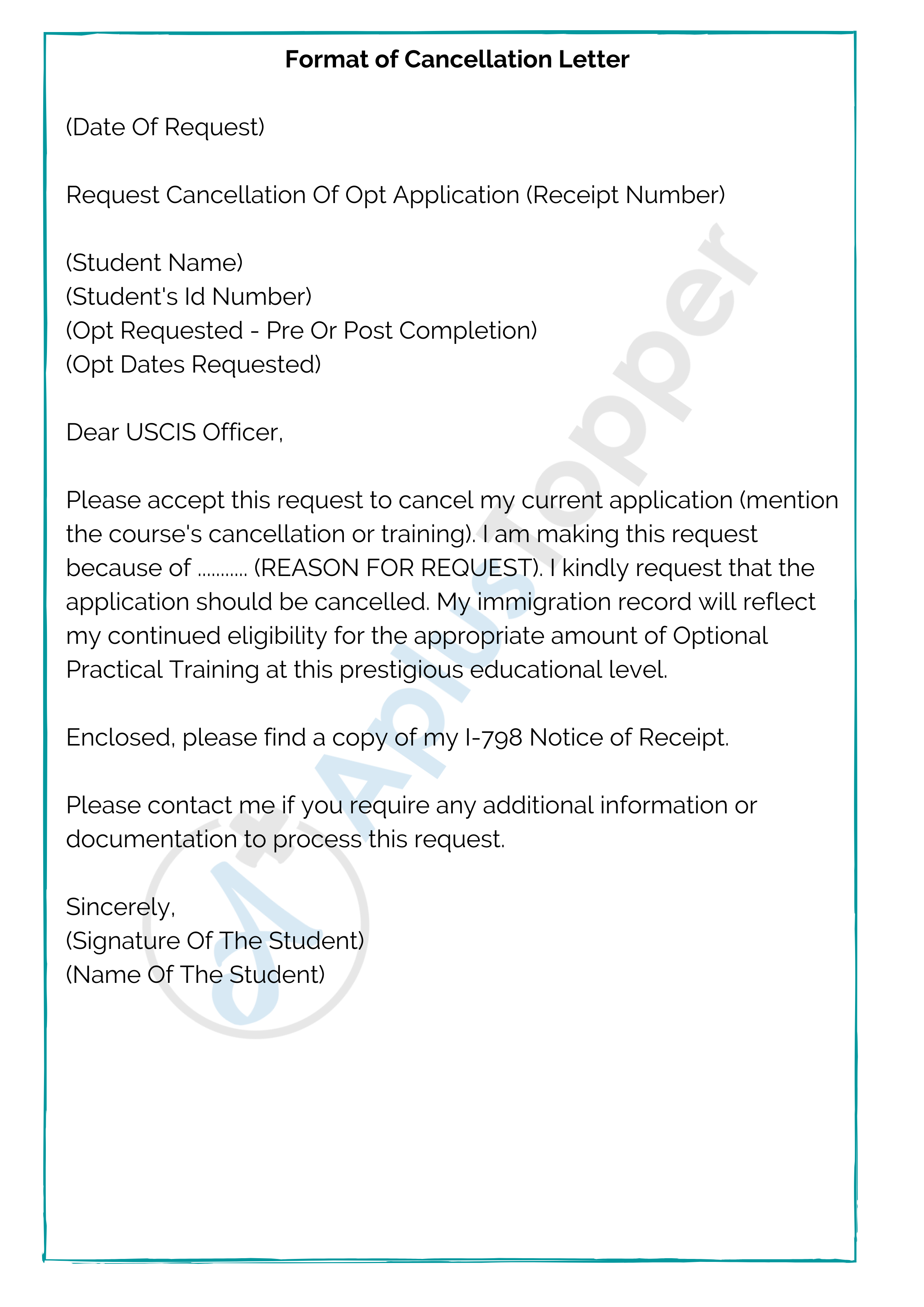 Format of Cancelation Letter