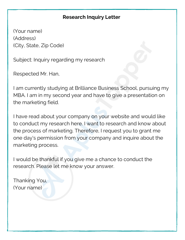 Research Inquiry Letter