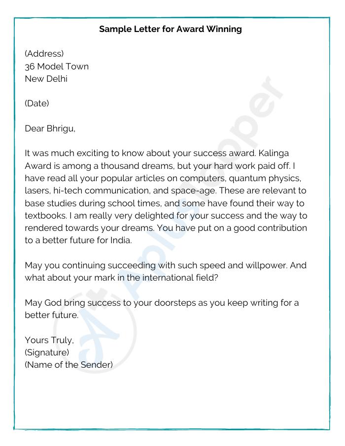 Sample Letter for Award Winning